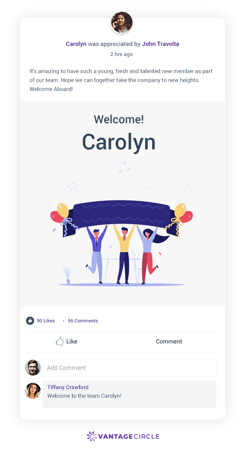welcome-messages-for-new-employees-Vantage-Circle-R-R-Platform