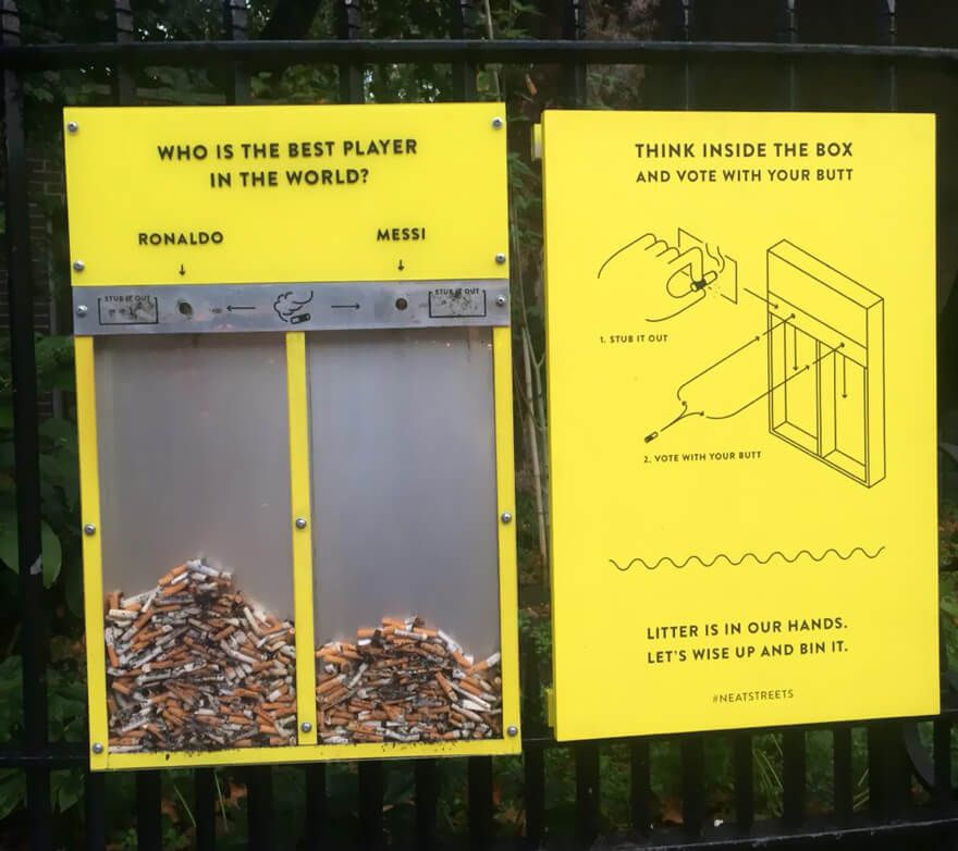 Ballot bins in UK is used as a nudge to stop people from littering
