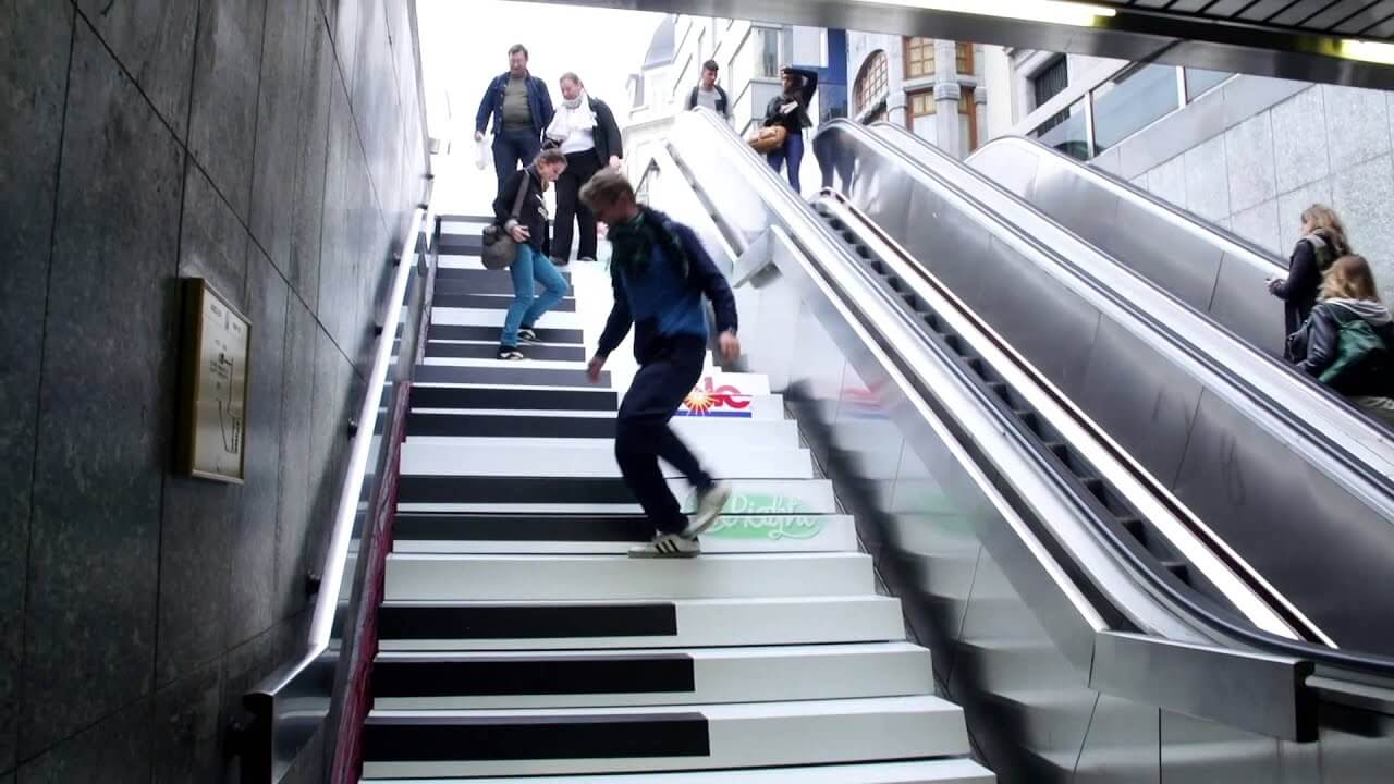 Piano stairs in Sweden is an example of Fun and Nudge theory