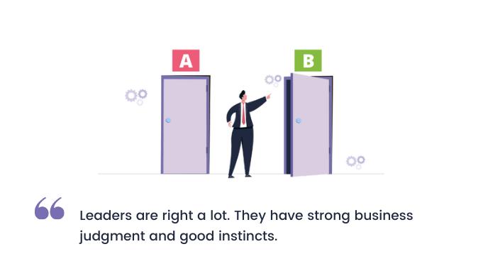 A-leader-judging-right-door-between-two-doors-of-decisions